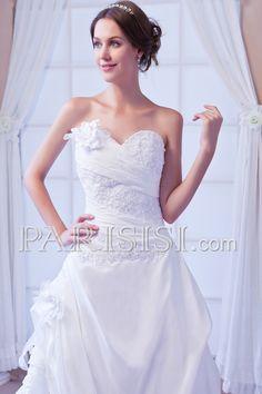 vestidos de novia Tafetán Blanco Hasta Suelo Sin Mangas Corte A Elegante Moderno Glamouroso Corazón