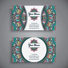 Business Card With Ethnic Pattern Vector Set 15