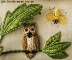 Owl and Fly from Jane Nicholas Mirror 2 stitched by Lorna Loveland
