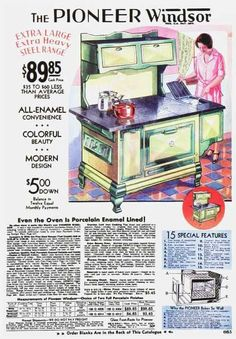The Pioneer Windsor cook range stove... in yellow and green...  Vintage Household Ad - 1930s