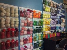 New yarn wall, organized by color!  Like me on facebook www.facebook.com/LeannesKillerCrafts