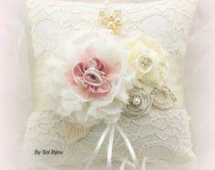 Ring Bearer Pillow, Ivory, Cream, Pink, Lace Ring Pillow, Bridal, Wedding, Crystals, Pearls, Satin, Vintage Wedding, Elegant, Gatsby