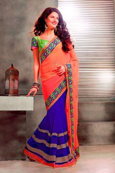Orange and Blue Chiffon Saree #designer #party #casual #sarees @ http://zohraa.com/sarees.html #celebrity #zohraa #onlineshop #womensfashion #womenswear #bollywood #look #diva #party #shopping #online #beautiful #beauty #glam #shoppingonline #styles #stylish #model #fashionista #women #lifestyle #fashion #original #products #saynotoreplicas http://zohraa.com/shop/inds-sarees-s_inds-sarees.html