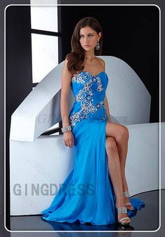 Applique Chiffon Sweep Train A-line High Split Beading Prom Dress