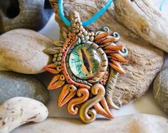 Dragon Eye Necklace Fantasy Dragon Dragon Jewellery by UniqueArtM Polymer Clay Pendant, Fimo Clay, Polymer Clay Projects, Polymer Clay Crafts, Polymer Clay Jewelry, Dragons, Polymer Clay Dragon, Cool Paper Crafts, Dragon Jewelry