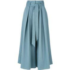 Temperley London Tie Waist Culottes in Blue - Lyst Tie Waist Trousers, Blue Trousers, Trouser Pants, Blue Pants, Plazzo Pants, Fashion Pants, Fashion Outfits, Jupe Short, Fancy Dress Design