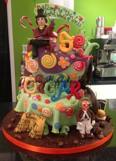 Willy Wonka & The Chocolate Factory Birthday cake from The Jolly Good Pud Company.  www.jollygoodpud.co.uk