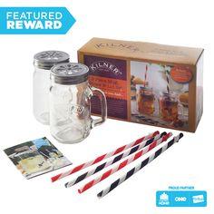 Kilner Mug / Straw Gift Set Glass Handle Drinks Tumbler Cocktail Beer Jar Kilner Jars, Mason Jars, Jam Jar, Refreshing Drinks, Transparent, Tea Set, Voss Bottle, Smoothies, Coffee Maker