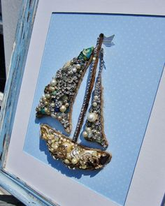 Nautical Bejeweled Sailboat, Original Handcrafted Art, Upcycled Vintage Jewelry Collage