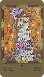 Tower from the Kazanlar Tarot at TarotAdvice Major Arcana, Tarot Reading, Tarot Decks, Tarot Cards, Art Gallery, Tower, Quilts, History, Image