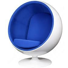 Modway Eero Aarnio Style Ball Chair in Blue (Blue) (Aluminum) Chair Upholstery, Upholstered Dining Chairs, Chair And Ottoman, Armchair, Ball Chair, Egg Chair, Egg Shaped Chair, Pink Desk Chair, Swivel Barrel Chair
