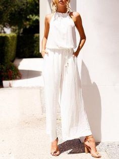 6c6e1cf1f3e White Halterneck Wide Leg Long Jumpsuits No reviews