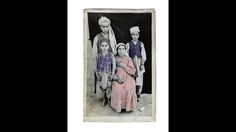 Hand-painted box camera portrait taken by Abdul Samad of his family
