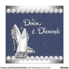 Denim and Diamonds Birthday Party 5.25x5.25 Square Paper Invitation Card