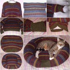 How to DIY Pet Bed from Old Sweater  Das sollte ich auch ohne Nähmaschine hinbekommen. ;)