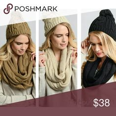 """Beanie & Scarf Set Cable Knit Beanie & Scarf Set 100% Acrylic Beanie Dimension 14""""x10"""" Scarf Circumference 11"""" x 66""""  Available in Ivory Black Mocha.See Detailed Size. These are NWOT Retail items! All Sales are Final Per Poshmark. Please Read Description and Ask any and all Questions Prior to Purchase. Color may slightly vary due to different monitor settings.All transactions are photographed & video taped prior to shipment.Thank you!! Accessories Hats"""
