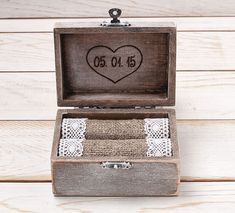 Ring Bearer Box Wedding Ring Box Ring Holder Wooden Personalized  Monogram Ring Box with Heart Rustic Weddings / R - 1