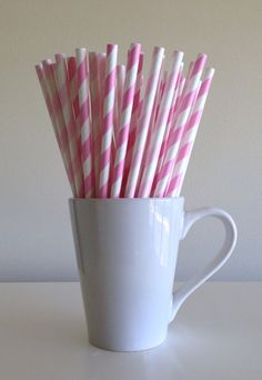 Paper Straws - 25 Light Pink and Pale Pink and White Striped Party Straws Birthday Wedding Baby Shower Bridal Shower by PuppyCatCrafts, $3.60