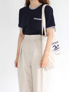 striped trim t-shirt