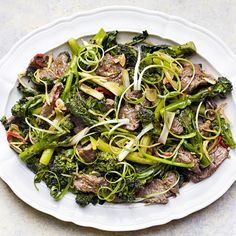 A wonderful alternative to a Chinese takeaway, this sticky ginger beef and sprouting broccoli stir-fry recipe uses classic Asian flavours with British produce.