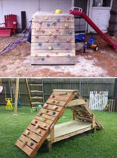 A wooden pallet sofa can just be the piece of furniture that changes the whole yard or garden, but also your living room, along with other DIY backyard projects using pallets. Kids Outdoor Play, Backyard For Kids, Backyard Projects, Diy Pallet Projects, Outdoor Fun, Diy For Kids, Outdoor Ideas, At Home Projects, Garden Projects