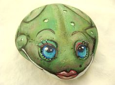 Frog hand painted rock with  little Sassy Lips Original by Carriveau