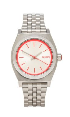 Nixon The Small Time Teller in Silver/ Neon Pink | REVOLVE