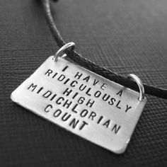 Star Wars -Midichlorian Count Stamped Mens Necklace in aluminum on Cotton Cord $25.00