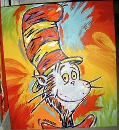 The Cat In The Hat Dr. Seuss 38x44 John Stango Original Abstract Art Acrylic On Canvas Painting