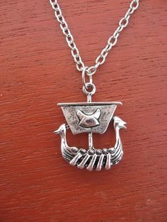 Silver Viking Ship Necklace