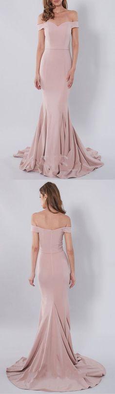 Blush Pale Pink Mermaid Off-Shoulder Sweep Train Long Prom Dress,MB 9 - Thumbnail 1