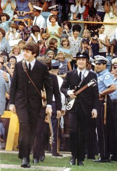 Beatles in Shea Stadium. First outdoor stadium concert EVER for ANYONE.