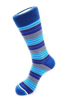 Variegated Stripe Sock, Blue Socks, Blue Unsimply Stitched Socks Blue Socks, Striped Socks, Stripes, Stitch, Stork, Collection, Fashion, Socks, Tights