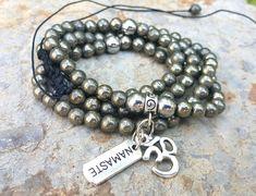 Pyrite Men Mala 108 Men Mala Spiritual Meditating Namaste Om Yoga Men Women Mala Necklace Namaste Yogi Gifts