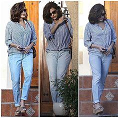 #evamendes #boyfriendjeans #cool #Summer #spring #stripes #shirt #jeans #denim #Heels #sandals #wedgetrainers #brunette #accessories #ryangosling #boyfriend #wow #shades #bag #fashion #style #celebrity #hollywood... - Celebrity Fashion