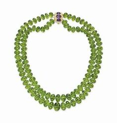 A peridot, diamond, and amethyst necklace from the estate of Huguette M. Clark