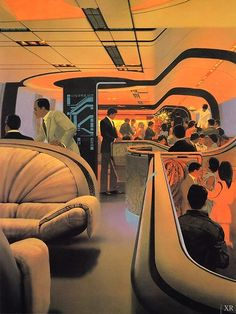 Retro Futurism Art, Cyberpunk, Syd Mead, Retro Interior Design, 70s Sci Fi Art, Futuristic Art, Futuristic Technology, Technology Gadgets, Futuristic Interior