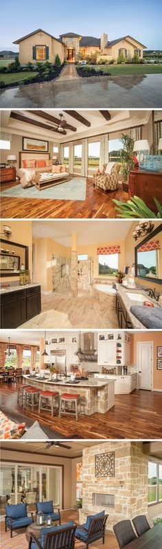The Stonecrest by David Weekley Homes in Rockwall Ranch is a 4 or 5 bedroom floorplan that features hardwood floors, a private covered porch, and an open kitchen and family room layout with a fireplace.