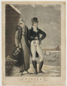 Winter - The Four Seasons.  by P. Boscetti & Co. 1823.mezzotint & line engravings with hand colour
