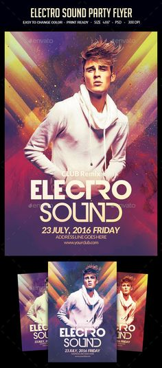 Electro Sound Party Flyer Template PSD. Download here: http://graphicriver.net/item/electro-sound-party-flyer/16718606?ref=ksioks
