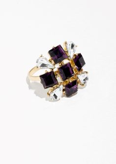 & Other Stories Glass Crystal Ring in Purple Shades Of Purple, Magenta, Lilac, Crystal Ring, Glass Crystal, Amethyst, Sapphire, High Jewelry, Jewellery
