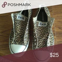 Leopard Converse No laces Good condition. Size 12. No laces so you have to add your own Converse Shoes