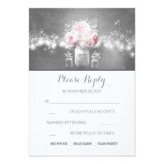 Mason Jar Wedding Invitations floral mason jar rustic string lights wedding RSVP Card
