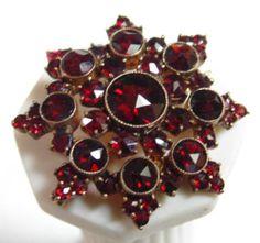 Victorian Antique Bohemian Rose Cut Garnet Gold Pin Brooch 4 Tier Starburst | eBay