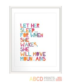 Baby girl nursery art Let her sleep 11x14