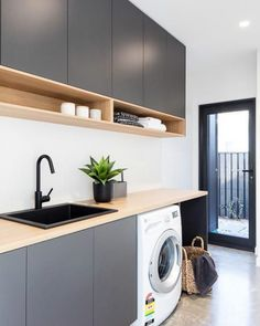 Laundry Room Organization Space Saving Ideas For Functional Small Laundry Room Design. Laundry Inspo - Hope Me. Home Design Ideas Modern Laundry Rooms, Laundry In Bathroom, Basement Laundry, Laundry Decor, Laundry Area, Laundry In Kitchen, Laundry Room Counter, Kitchen Grey, Kitchen Wood