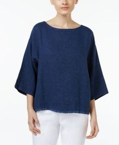Eileen Fisher Organic Linen-Cotton Boat-Neck Top - Blue XL