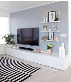 50 Affordable Apartment Living Room Design Ideas On A Budget Home Living Room, Apartment Living, Living Room Decor, Living Room Wall Colours, Tv On Wall Ideas Living Room, Small Living Room Designs, Living Area, Living Room Tv Unit, Living Room Paint