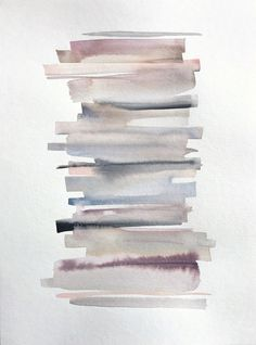 Watercolour Painting with pastel coloured stripes that look like piled up books - nude, blush, grey - Atelier DVG Watercolor Books, Watercolor Paintings Abstract, Watercolor Background, Watercolor Illustration, Abstract Art, Simple Watercolor, Watercolor Trees, Watercolor Animals, Watercolor Landscape