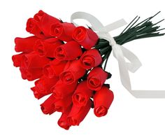 24 Beautiful Realistic Wooden Roses - Red Artificial Flowers - Forever Beloved - Gift Boxed -- To view further for this item, visit the image link.